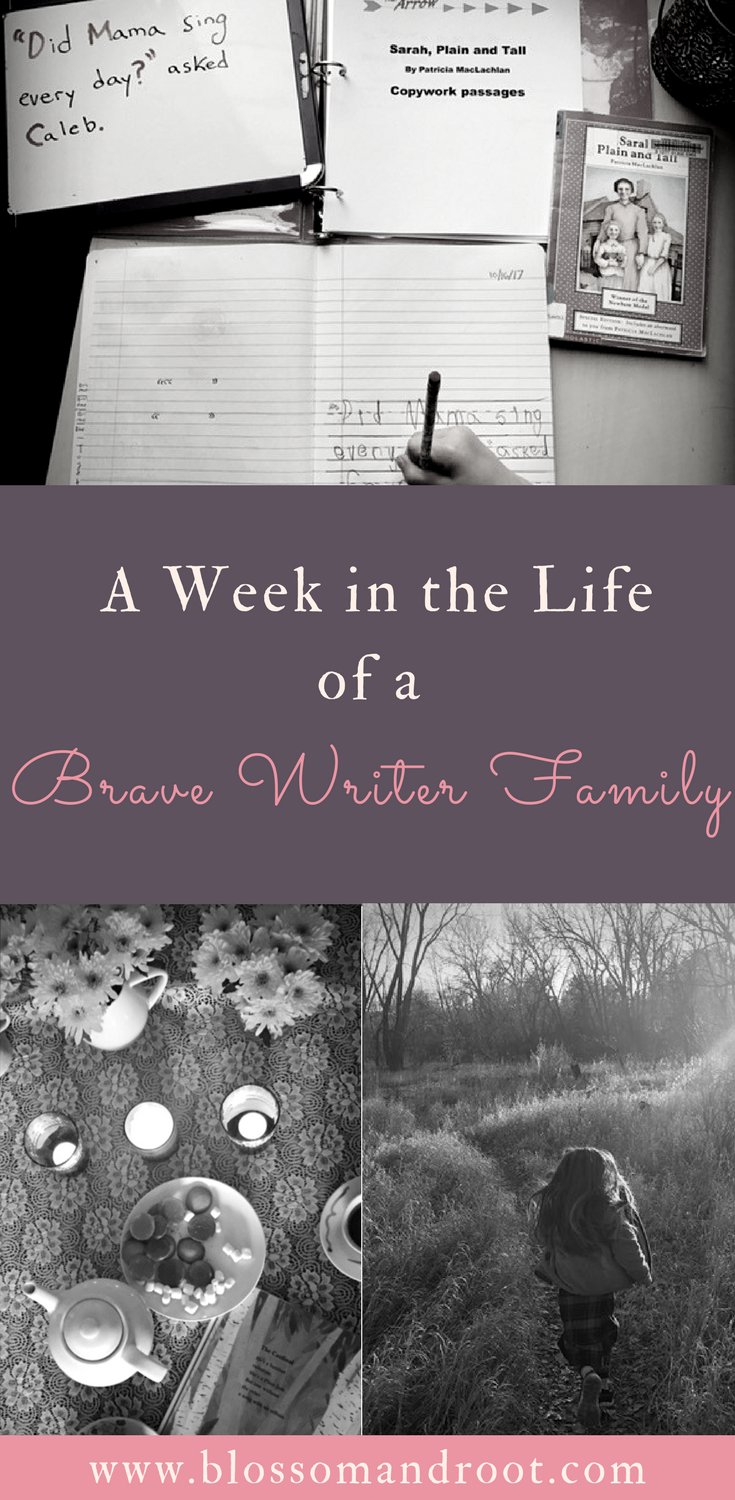 A week of Brave Writer in our homeschool--including poetry tea, copywork and dictation with a Quiver of Arrows, writing projects from Jot It Down, nature study, art appreciation, freewriting, and more! homeschool curriculum, brave writer, brave writer lifestyle, homeschool writing