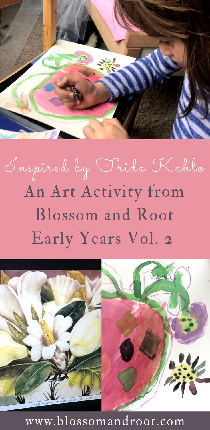Art activity for preschool, pre-k, or kindergarten from Blossom and Root Early Years Vol. 2. Picture study and art project inspired by Frida Kahlo.