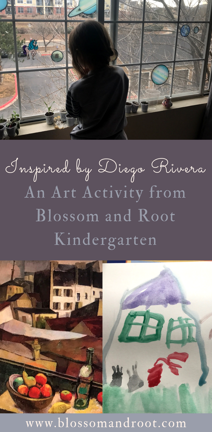 Picture study and art project inspired by Diego Rivera for homeschool kindergarten. Blossom and Root kindergarten art